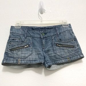 O'Neill Juniors Medium Wash Blue Short Shorts